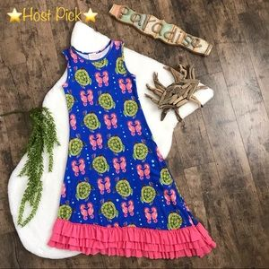 Lemon Loves Lime Seahorse Turtle Ruffle Dress